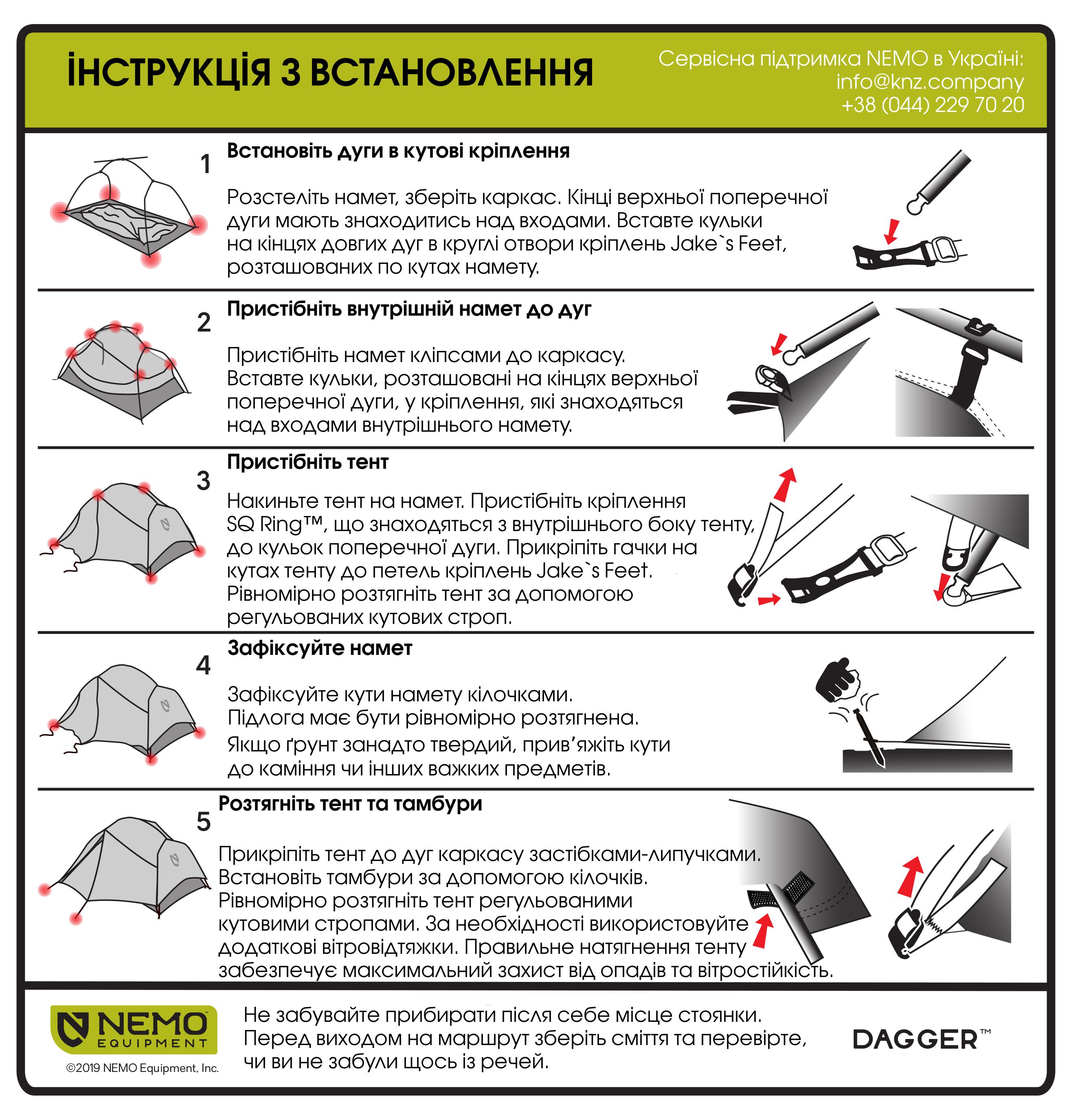 Инструкция по установке палатки NEMO Dagger