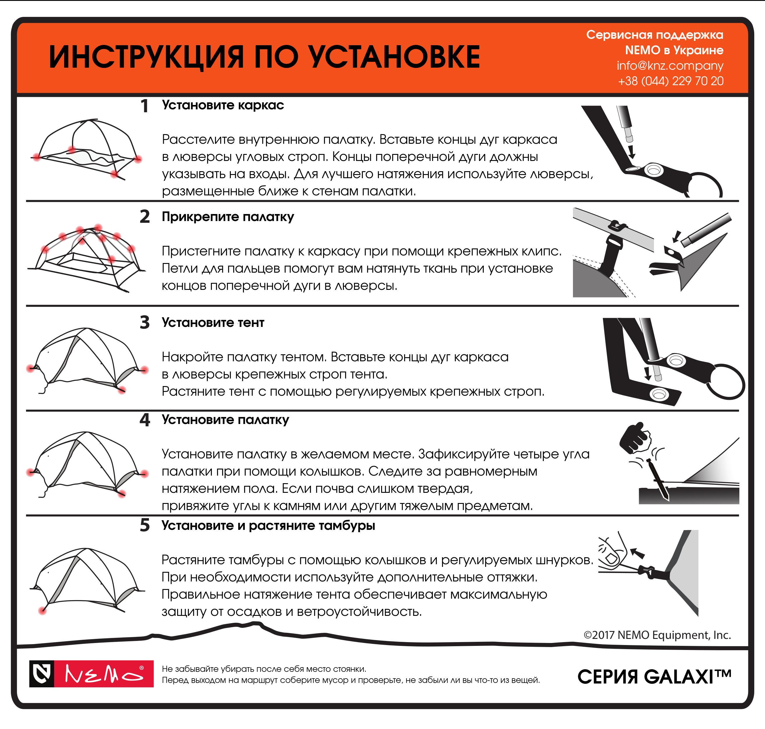 Инструкция по установке палатки NEMO Galaxi